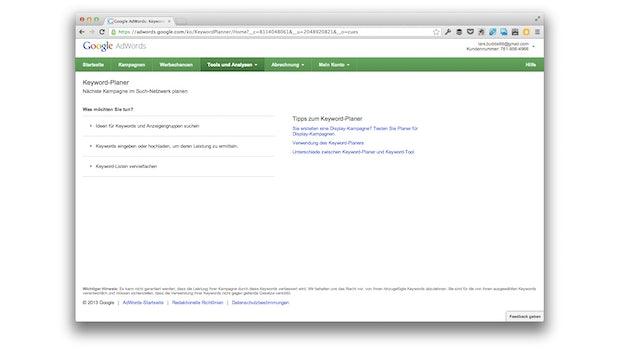 Der Startbildschirm des Google Keyword Planers. (Screenshot: adwords.google.com)