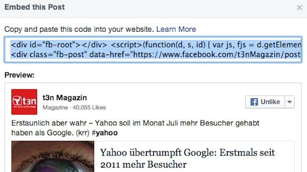 """""""Embedded Posts"""" jetzt simpel und für alle von Facebook veröffentlicht"""