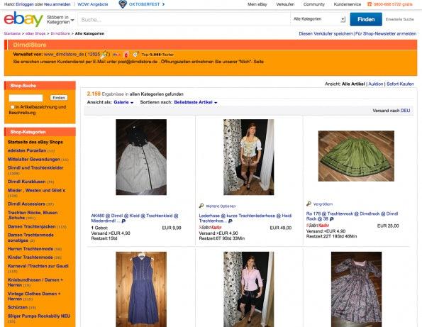 """Auch in Deutschland ist das Design der Stores immer noch in der """"altbackenen"""" Variante im EInsatz. (Screenshot: eBay)"""