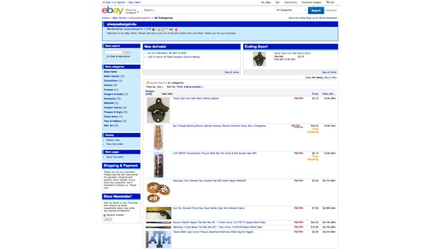 eBay Standard Design eines Stores: So sieht normalerweise der Händler-Shop aus. (Screenshot: eBay)