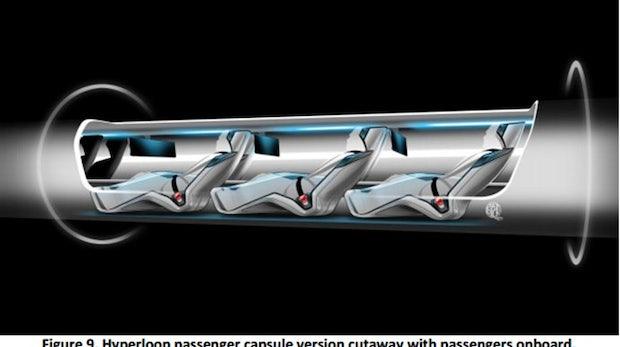 Hyperloop: Die Passagiere sollen in solchen Kapseln sitzen. (Bild: SpaceX)