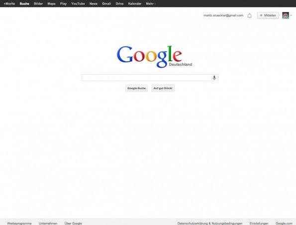 So sah die Google-Startseite vorher, mit der schwarzen Navigationsleiste aus.