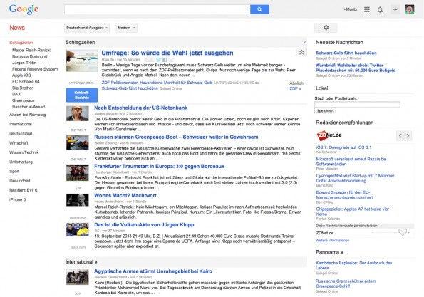 Auch bei Google News ist das Redesign angekommen.