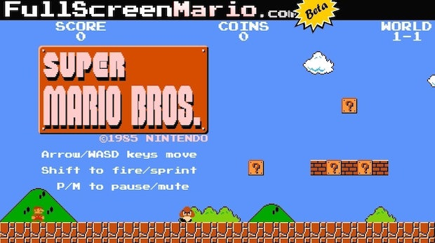 "HTML5-Remake: Super Mario Bros. als Browserversion im ""Full-Screen""-Modus spielen"