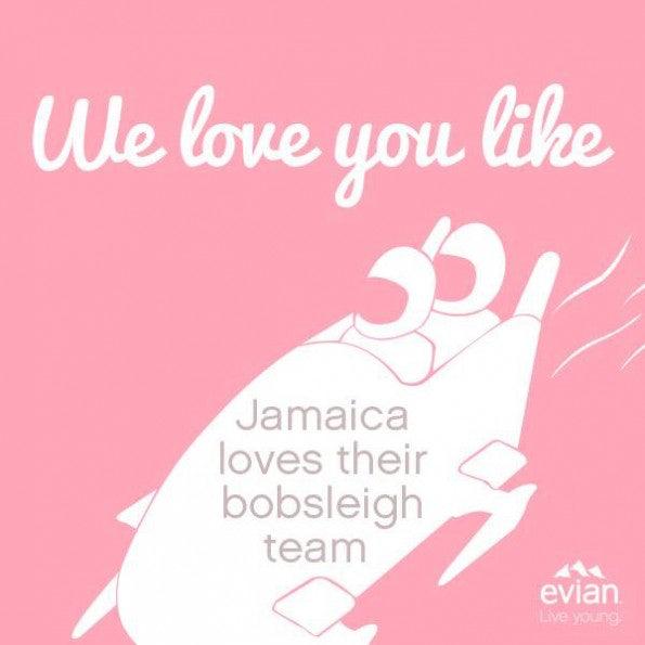 """""""I Love You Like""""-Kamapagne von Evian."""