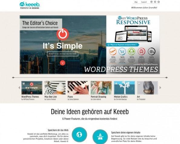 """Das Hamburger Startup keeeb  ist mit der Mission an den Start gegangen Social Bookmarking intelligenter und relevanter zu gestalten. (Screenshot: <a href=""""http://keeeb.com/"""">Keeeb</a>)"""