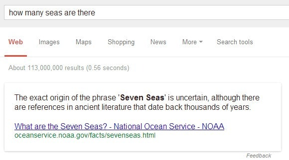 "Semantische Suche: ""how many seas are there?"" (Screenshot: Google-Suche)"