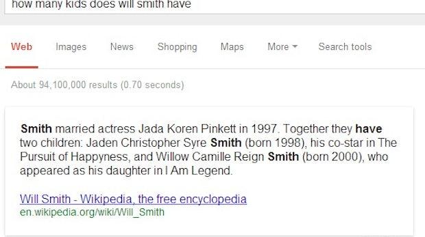"Semantische Suche: ""how many kids does will smith have?"" (Screenshot: Google-Suche)"