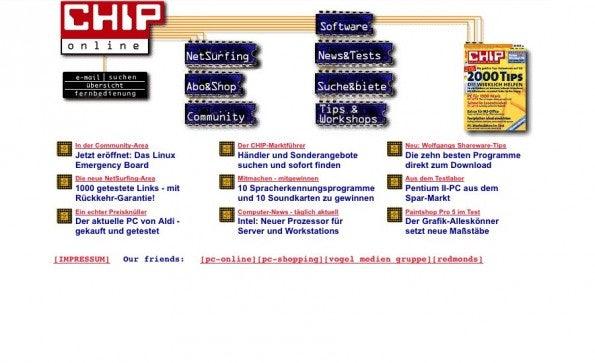 Die CHIP-Site 1999. (Screenshot: Wayback Machine)