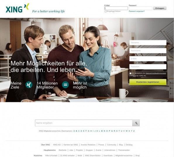 Die aktuelle Website von XING. (Screenshot: XING)