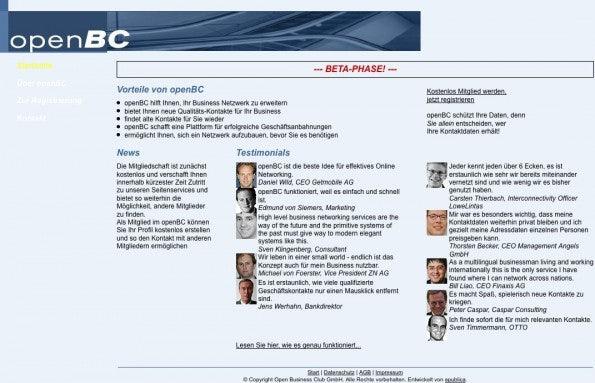 Die Website von XING (damals noch Open BC) 2003. (Screenshot: Wayback Machine)