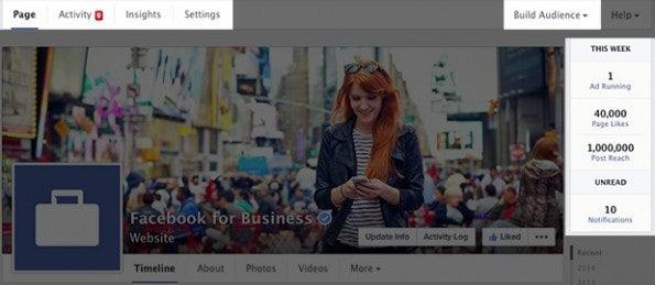 Neue Facebook-Pages: Verbesserter Zugang zu den Admin-Tools. (Screenshot: Facebook)