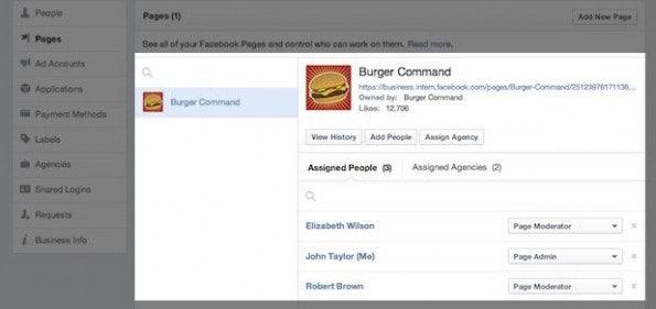Einsicht in eine Facebookseite: Hier verwalten Administratoren die zugewiesenen Benutzer und Agenturen. (Screenshot: facebook)