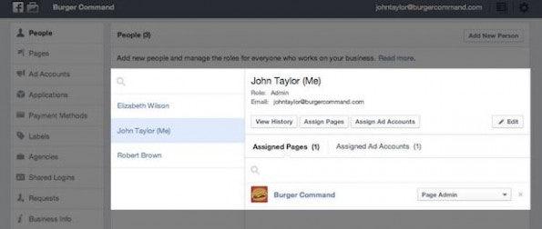 Eine Übersicht über die Benutzer, die Zugriff auf diese spezielle Facebookseite haben. (Screenshot: facebook)