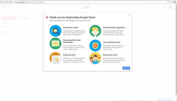 Google Stars: So präsentiert sich der neue Bookmark-Dienst aus Mountain View. (Screenshot: Florian Kiersch)
