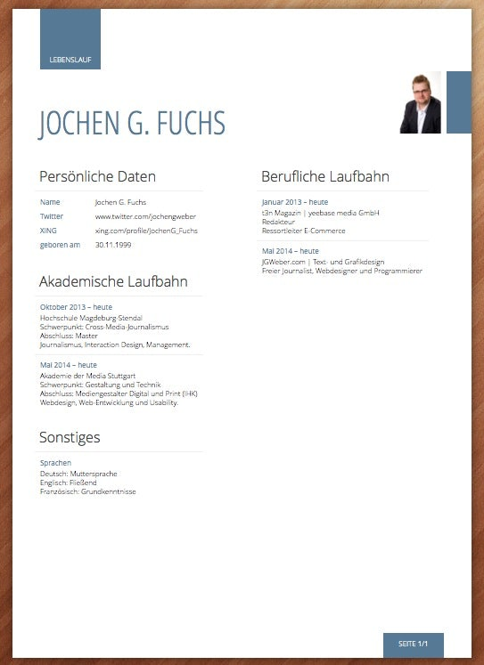 (Screenshot: Lebenslauf.com)