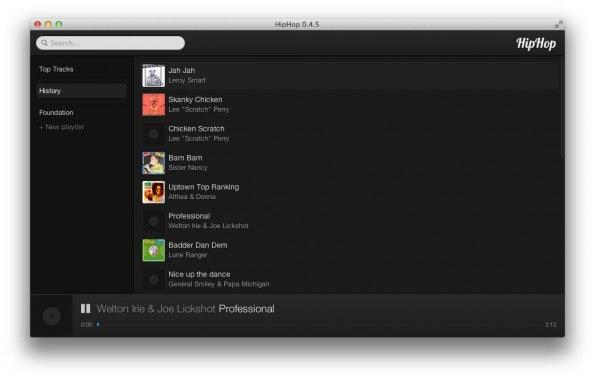 HipHop: Das Programm kombiniert Audio-Streams von YouTube mit Daten von iTunes und LastFM. (Screenshot: HipHop)