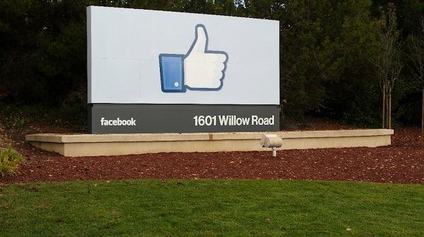 Das Like-Schild begrüßt ankommende Besucher der Facebook-Zentrale. (Bild: Facebook)