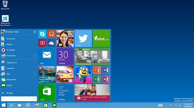Windows 10: Microsoft bringt das Startmenü zurück und kombiniert es mit den Kacheln der Modern-UI-Oberfläche. (Screenshot: Microsoft)