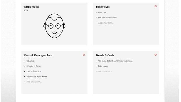 Personapp: Das Tool hilft bei der Erstellung von Personas. (Screenshot: Personapp)