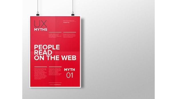 "32 Mythen über UX und Webdesign. (Grafik: Zoltán Gócza und Alessandro Giammaria, <a href=""http://uxmyths.com/"">uxmyths.com</a>)"