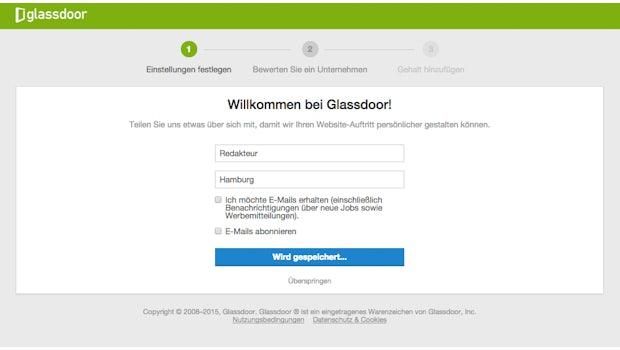 Schritt1: Glassdoor-Anmeldung.