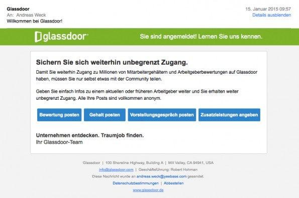 Schritt 2: Email-Aufforderung zum Bewerten.