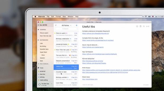 Alternote: Das kann der extrem schicke Evernote-Client für den Mac