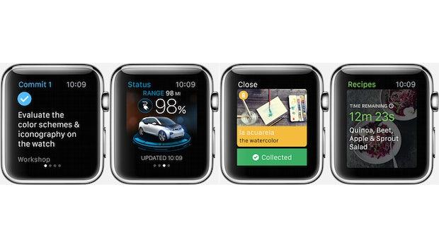 Von links nach rechts: CommiTo3, BMW, Babbel, Green Kitchen. (Bilder: Apple)