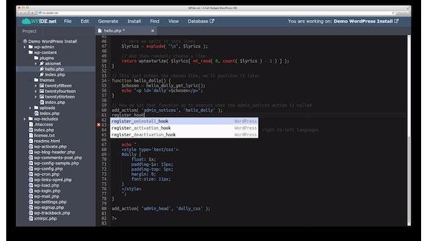WPide.net ist eine WordPress-Entwicklungsumgebung in der Cloud. (Screenshot: WPide.net)