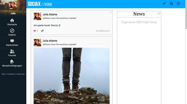 Sociax: Drei deutsche Schüler haben eine Alternative zu Facebook entwickelt. (Screenshot: Sociax)