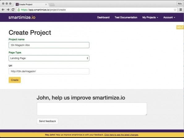 Ein neues Projekt lässt sich mit wenigen Mausklicks anlegen. Über das URL-Feld legen Nutzer die Website fest, von der Smartimize einen Screenshot macht.(Screenshot: Smartimize.io)