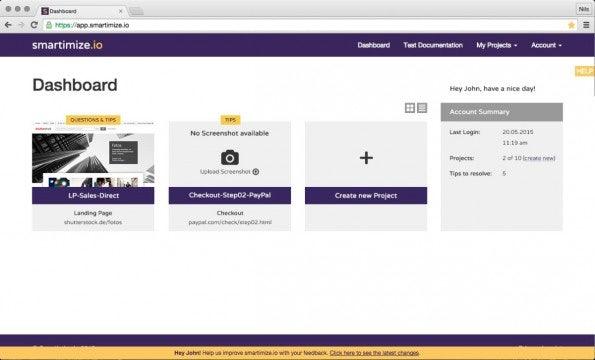 Das Dashboard zeigt eine Übersicht aller Projekte. (Screenshot: Smartimize.io)