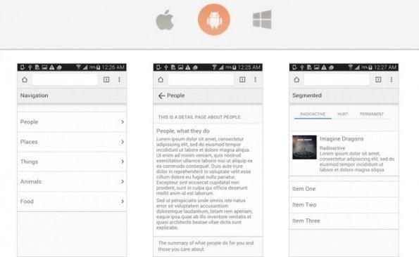 """Übersicht der UI-Elemente von Android (Screenshot: <a href=""""http://chocolatechip-ui.com/"""">ChocolateChip-UI</a>)"""