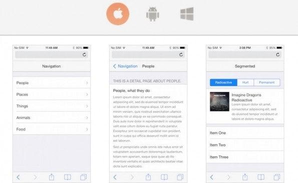 """Übersicht der UI-Elemente von iOS (Screenshot: <a href=""""http://chocolatechip-ui.com/"""">ChocolateChip-UI</a>)"""