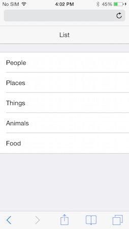 """Die erstellte Liste mit der iOS-CSS (Screenshot: <a href=""""http://chocolatechip-ui.com/"""">ChocolateChip-UI</a>)"""