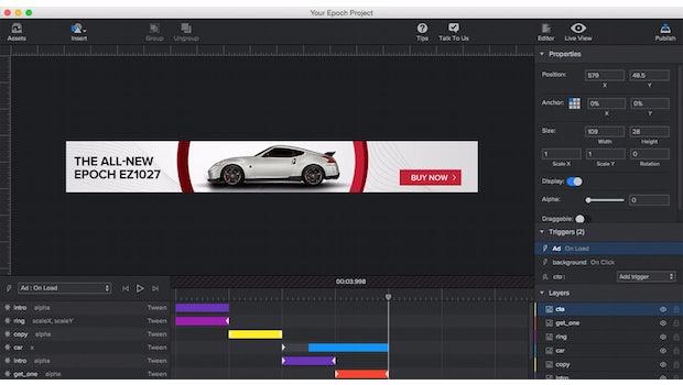 Adcade Epoch hilft euch bei der Erstellung von HTML5-Banner-Werbung. (Screenshot: Adcade)