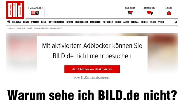 """""""Warum sehe ich BILD nicht?"""" – Axel Springer sperrt Adblock-Nutzer aus"""