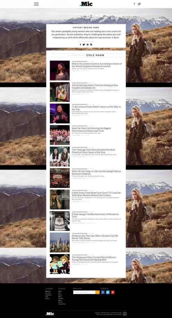 "Native Ad vom Klamotten-Label Cole Haan auf Mic.com (Screenshot: <a href=""http://mic.com/colehaan/history-begins-here"">mic.com</a>)"