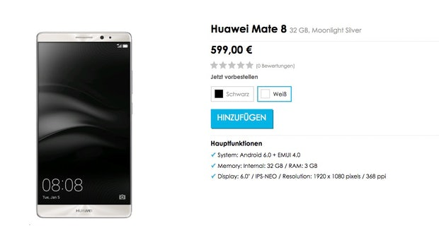 """Huawei Mate 8 – schon gestern ist das Phablet im <a href=""""http://webcache.googleusercontent.com/search?q=cache:LGXT3kFynF4J:https://www.vmall.eu/de/huawei-mate-8-nxt-l29-32gb-moonlight-silver-286572/+&cd=1&hl=de&ct=clnk&gl=de"""">Online-Store </a>des Herstellers aufgetaucht. (Screenshot: t3n/Vmall)"""