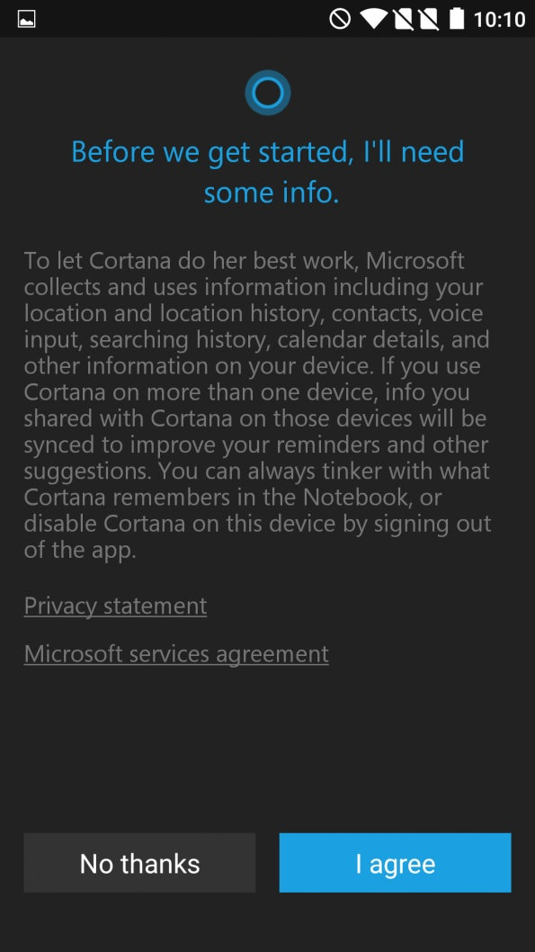 Cortana für Android (Screenshot: t3n)
