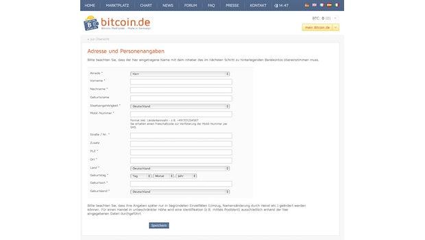 (Screenshot: Bitcoin.de)