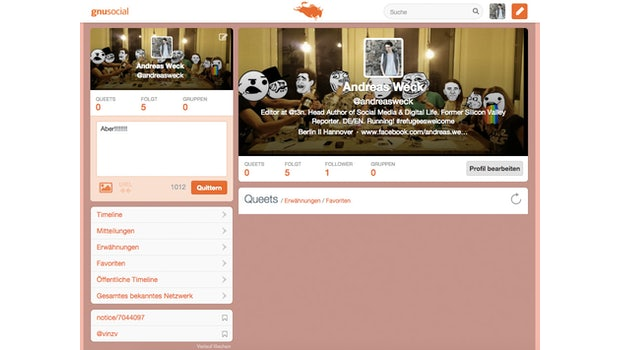GNUSocial.de – Profilseite. (Screenshot: t3n.de)
