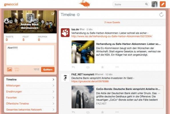 GNUSocial.de – Timeline. (Screenshot: t3n.de)
