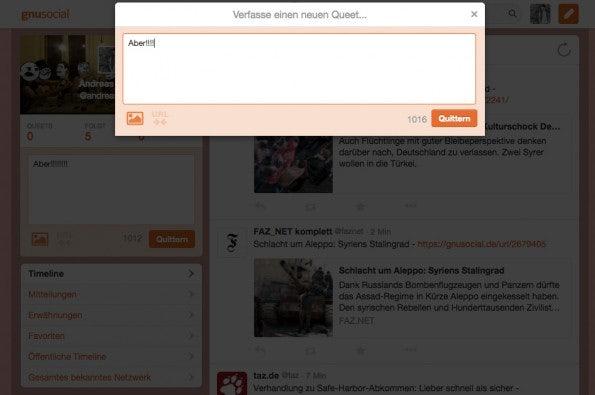 GNUSocial.de – Queets verfassen. (Screenshot: t3n.de)