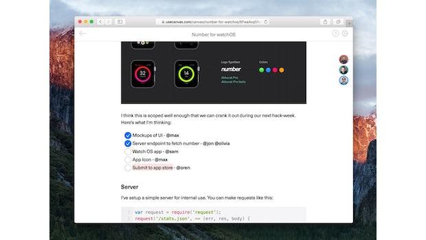 Canvas ist ein webbasierter Markdown-Editor für Teams. (Screenshot: Canvas)