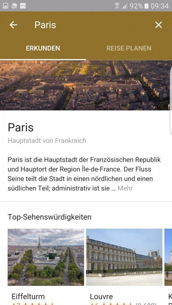 Google Destinations (Screenshot: t3n)