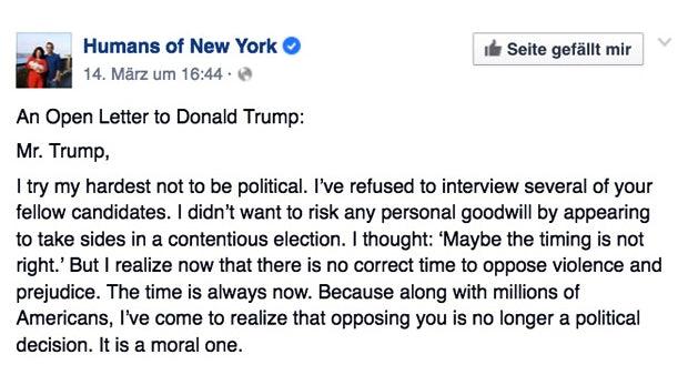 Das ist der meistgeteilte Facebook-Post aller Zeiten – ein offener Brief an Donald Trump