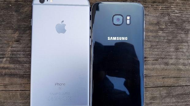 Größenvergleich: Samsung S7 edge und iPhone 6s Plus. (Foto: t3n)