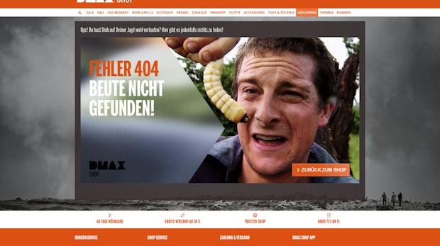"Die 404-Fehlerseite eines Outdoor-Shops. (Screenshot: <a href=""http://www.dmax-shop.de/404"">dmax-shop.de</a>)"